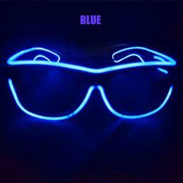 Gafas de sol wayfarers en Línea-LED EL Wire Glasses brillo en las gafas de sol oscuras Helloween Eyewear Neon LED Light Up Wayfarer Gafas Rave Costume Party concierto gafas
