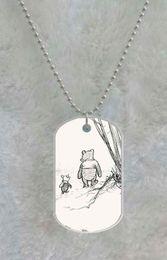 New Arrive Cartoon Winnie the Pooh Bear Fashion Durable Hard Plastic custom Pet Dog Tag pendant necklace Chain Metal Tags