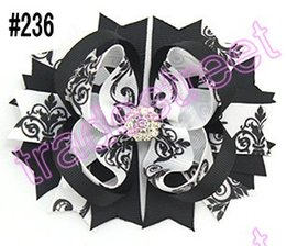"""free shipping 120pcs 4.5"""" Inspired Boutique Layered Hair Bow birthday hair bows girl hair clips -C"""