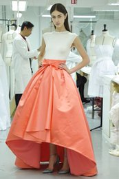 Coral High Low Skirts Long Satin Zipper Waist Custom made Dresses Party Evening Spring Autumn Summer Bow Ribbon Cocktail Casual Skirt