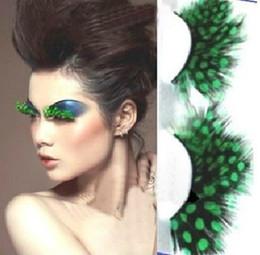 2017 cils de scène Le gros-club joue exagérée faux cils maquillage plumes épaisses en scène des taches vertes cils photo photographie cils de scène offres