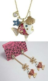 Wholesale NEW Betsey Johnson necklace earrings set multi element fish