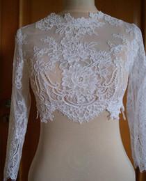 Wholesale Real Image Appliques Long Sleeves Lace Bridal Jackets Tulle White Ivory Custom Made Wedding Shrug Wrap Bolero Real Image On Sale