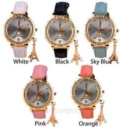 New Fashion & Casual Luxury Watch Women Leather Watches crystal clock female Eiffel Tower Dress Quartz Watches