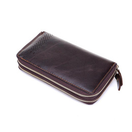 2016 Double Zipper Genuine Leather Clutch Men Luxury Man Clutch Leather Bag Men's Long Wallet Male Carteira without Logos