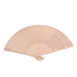 Wholesale Hot Sale Vintage Style Chinese Folding Hand Fan Summer Bamboo Fragrant Wooden Hollow Art Carved Wedding Dancing Party Decor