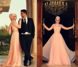 2016 Elegance Pink Long Sleeve Muslim Long Wedding Dresses Bride Bridal Gown Chiffon Custom Size Color