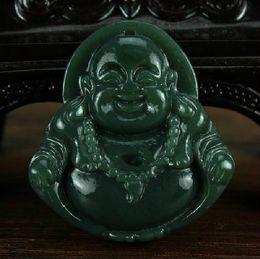 Free shipping -Natural dark green jadeite jade charm Laughing Buddha jade pendant