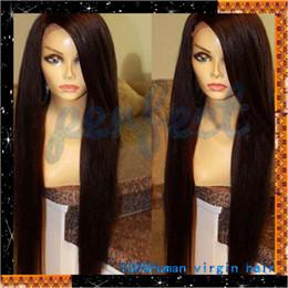 Forawme straight brazilian full lace human hair wigs 130% density brown swiss lace medium cap color #1 Jet black #2 dark brown