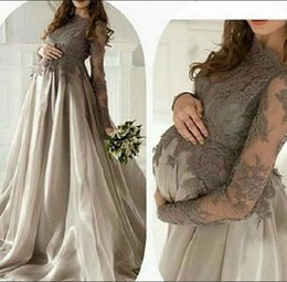 Custom Made Lace Applique High Neck Long Sleeve Gray Tulle Long Formal Evening Dresses Pageant Dress Elegant Sexy Party Prom Gowns Chic