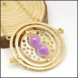 Wholesale 2015 harry potter Time Turner necklace Jewelry magic hourglass neck chain pendants Hermione Granger Rotating Spins chains J081303