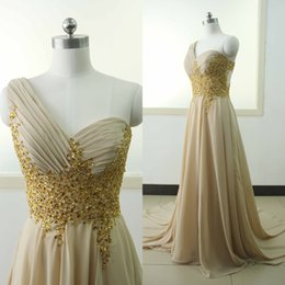 Real Champagne Beading Evening Dresses One Shoulder Pleats A line Chiffon Party Prom Dress Sweep Train Custom made