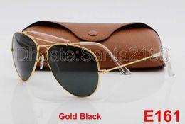 10pcs Hot Sale Designer Pilot Sunglasses For Mens Womens Outdoorsman Sun Glasses Eyewear Gold Black 62mm Glass Lenses With Brown Cases
