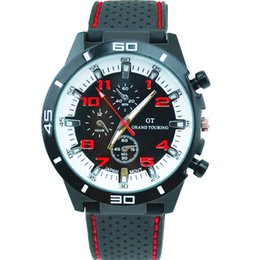 New Men Sport Watch Grand Touring GT Luxury Brand Silicone Strap Quartz Wrist Watch Movement Military Watches