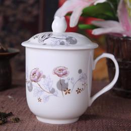 Gros fleur de thé, tasses à thé en céramique, Kung Fu tasse de thé, avec couvercle, Bone China porcelaine, bureau tasse de thé 280ml, 4 optionnel style ~ à partir de thé floraison gros en chine fournisseurs