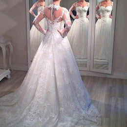 Long Sleeve Wedding Dresess 2015 with Sheer Back and Covered Buttons Back with Lace Appliqued Court Train and Matching Veil
