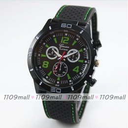 Wholesale 100pcs Geneva silicone watch three eye high quality watch for men sports geneva watch and car driving watch cool style