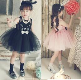 Girls Dress Cartoon Cat Kitty Kids Princess Tutu Dress Children Girl Summer Dresses Clothes free shipping in stock