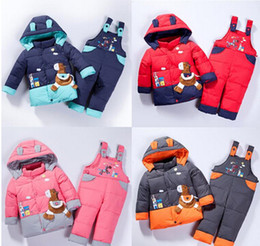 Wholesale Baby Children boys girls winter warm down jacket suit set thick coat jumpsuit baby clothes set kids jacket animal Horse fish Infantil A1
