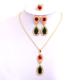18k Yellow Gold Filled Women's Austrian Crystal Chain Colorful Heart Necklace Earrings Ring Wedding Jewelry Sets