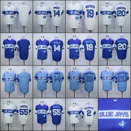 Wholesale 2015 Exclusive Toronto Blue Jays jerseys Tulowitzki David Price Jose Bautista Josh Donaldson Russell Martin Vintage Jersey