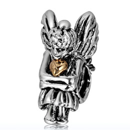 Wholesale Charm Sterling Silver Fairy Gold Hearts European Floating Charms Bead Fit DIY Snake Chain Bracelets Jewelry