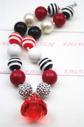 Red Water Drop Chunky Necklace Red&Black&Silver Beads for kids & Girls Children Necklace.CB097