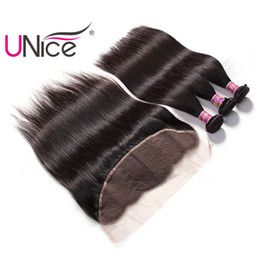 UNice Hair Brazilian Virgin Straight 3 Bundles With Frontal Ear to Ear Hair Weaves With 13x4 Lace Frontal With Bundle Human Remy Hair