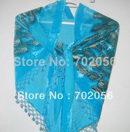 Wholesale Triangle Beaded Peacock Silk Shawl Velvet Burn Out Duster Opera Scarf Wrap