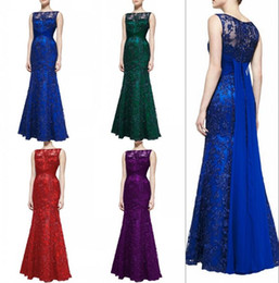 Robe noire bleu peplum en Ligne-Pretty Royal Blue Mermaid Robes de soirée Dentelle Tulle Elegant Lace Maxi Rouge Longue robe de soirée Nouvelle Collection Black Evening Gowns For Sale