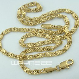 18k gold GF curb rings link chain womens solid long necklace N245