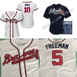 Wholesale women Baseball Jersey Atlanta Braves Jersey Chipper Jones ladies Baseball Jerseys Shirt Embroidery Logos stitched size S XL