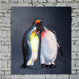 Wholesale Lovely Penguin Decorative Canvas Oil Painting Wall Art Home Decor Animal Paintings Pop Picture For House Decorations