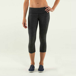 Wholesale new Lulu capris for women candy colors solid sexy Lady running sports clothes slim fit gym yoga pants Size XXS XL
