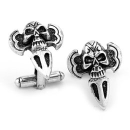 Wholesale Skull French Cuffs - Silver Black Skull Cufflinks For Shirt French Cufflink Fathers Day Gifts For Men Jewelry Cuff Links Free Shipping C235