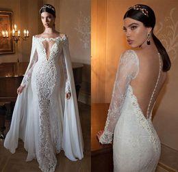 Wholesale Short Bridal Cape - Vestido De Noiva Berta Lace 2015 Mermaid Wedding Dresses With Free Detachable Lace Cape Sexy V-Neck Long Sleeve Beaded Bridal Gowns