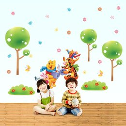 Wholesale bedroom decoration Pooh partner stickers living room bedroom children s nursery furniture TV background wall stickers DLX129L