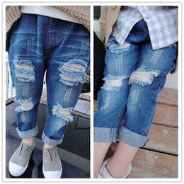 Wholesale Fashion Jeans Baby Jeans Children Clothes Kids Clothing Spring Ripped Jeans Kids Pants Boys Girls Blue Jeans Denim Trouser Ciao C22699