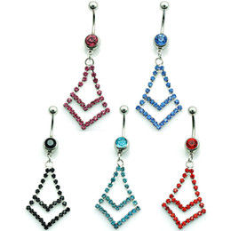 Piercing Jewelry Fashion Belly Button Rings Dangle 5 Color Rhinestone Rhombus Stainless Steel Sexy Navel Rings