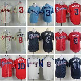 Wholesale Can Mix Order Atlanta Braves jerseys Stitched Freddie Freeman Jersey authentic Chipper Jones jersey cheap Hank Aaron jerseys