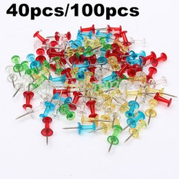 40x 100x Push Pins Plastic Assorted Transparent Mulit-Colorful Making Thumbtack Cork Board For School Office Home Free Shipping