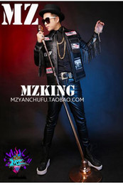 Male singer clubs in Europe and the English buiter leather jacket fur fringed cultivate one's morality costumes. S - 6 xl
