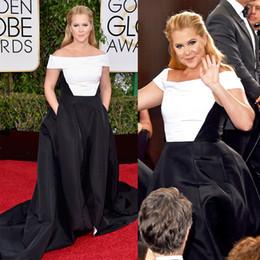 2016 White and Black Satin Plus Size Evening Dress Short Sleeve Golden Globe Awards Amy Schumer Celebrity Dresses