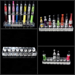 Acrylic e cig display stand showcase smoking vaporizer pen clear standing show shelf holder rotatable rack for atomizer ego battery ecig DHL