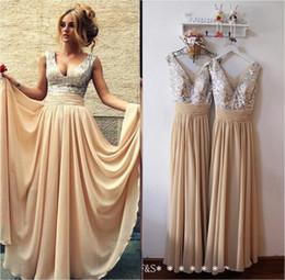 Burgundy Black Pink Champagne Sequins Bridesmaid Dresses Long 2016 Cheap V Neck A Line Evening Gowns 2017 Arabic Prom Dresses Under 100