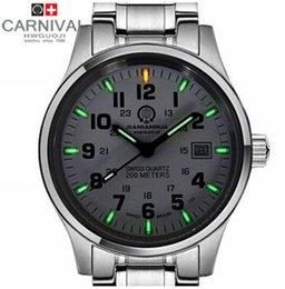 Wholesale 2015 Men Military watch Tritium T25 Luminous Analog Steel Band Ronda Movement Waterproof