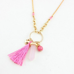2015 Fashion Women Jewelry Pink Tassel Crystal Charm Necklace Gold Chains Adjustable Long Pendant Necklace Cute Accessories