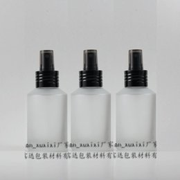 125ml clear transparent frosted Glass travel refillable perfume bottle with black aluminum atomizer sprayer,perfume container