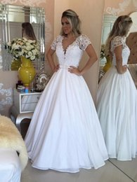 Beach Wedding Dresses 2016 Lace Vintage A Line V Neck Bohemian Boho With Short Capped Sleeves Sheer Back Beaded Floor Length Bridal Gowns