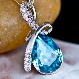 Romantic Angel Tears Pendant Austrian Sapphire Crystal Fashion Necklace Pendant for women Valentine Gift Jewelry